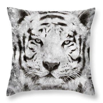 White Bengal Tiger Portrait Throw Pillow