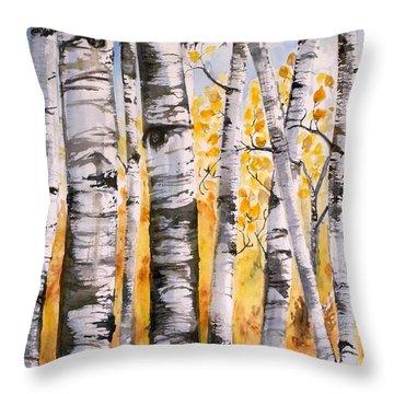 White Birch Meadow Throw Pillow