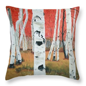 Throw Pillow featuring the painting White Birches by Betty-Anne McDonald