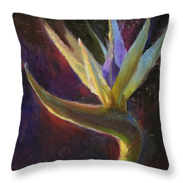 Throw Pillow featuring the painting White Bird Of Paradise -tropical Flower Painting by Karen Whitworth