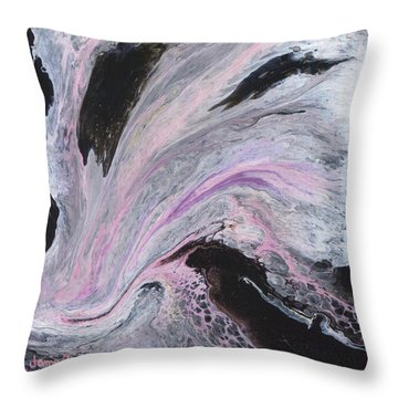 Throw Pillow featuring the painting White/black/pink by Jamie Frier