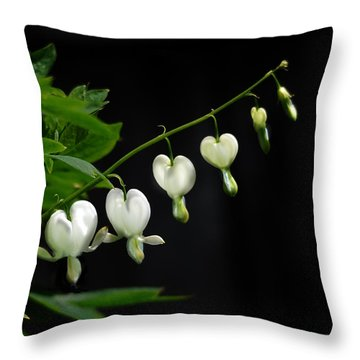 Throw Pillow featuring the photograph White Bleeding Hearts by Susan Capuano