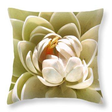 White Blooming Lotus Throw Pillow