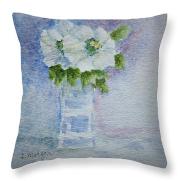 White Blooms In Blue Vase Throw Pillow