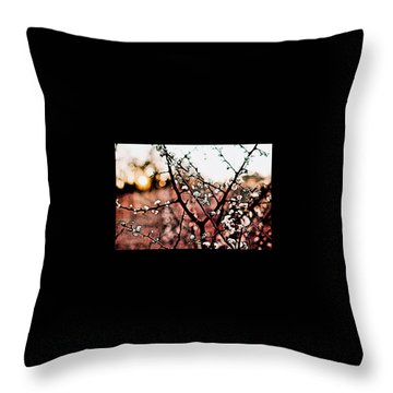White Blossom Branches Throw Pillow