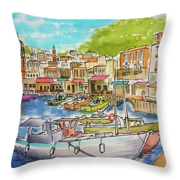 White Boat, Hydra Harbor Throw Pillow