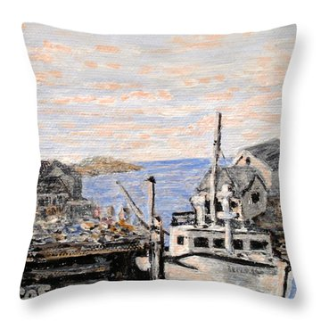 Throw Pillow featuring the painting White Boat In Peggys Cove Nova Scotia by Ian  MacDonald