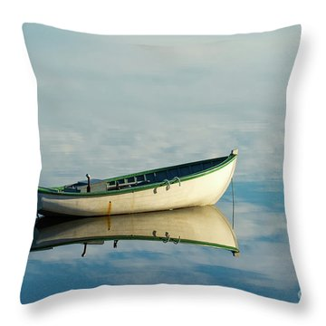 White Boat Reflected Throw Pillow