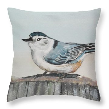 White Breasted Nuthatch Throw Pillow by Carole Robins
