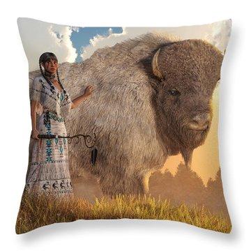 White Buffalo Calf Woman Throw Pillow
