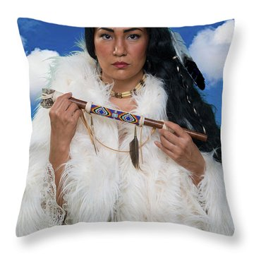 White Buffalo Calf Woman Throw Pillow