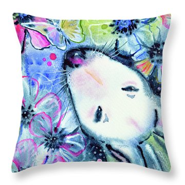 Throw Pillow featuring the painting White Bull Terrier And Butterfly by Zaira Dzhaubaeva
