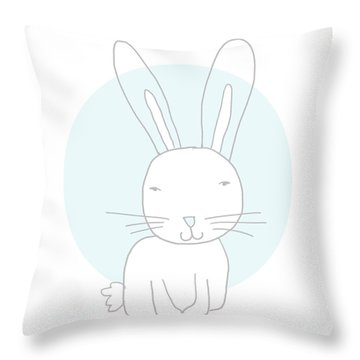 White Bunny On Blue- Art By Linda Woods Throw Pillow