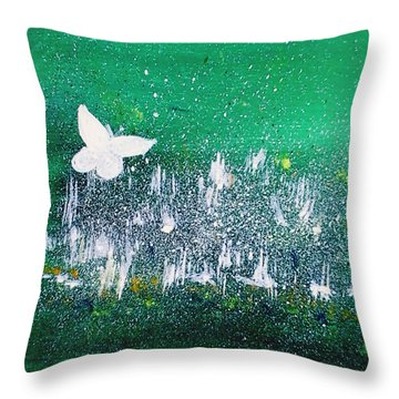 White Butterfly In Clover Blooms Throw Pillow