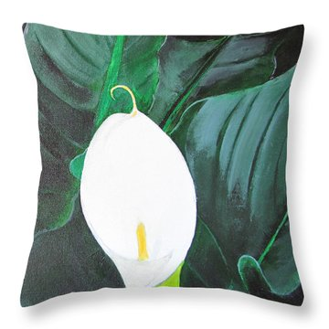 Throw Pillow featuring the painting White Cala Lily by Gary Smith