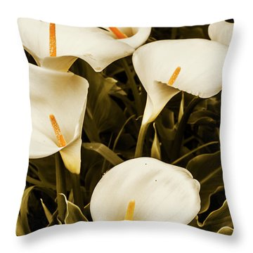 White Calla Lilies Throw Pillow