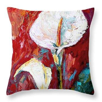White Calla Lilies Oil Painting Throw Pillow