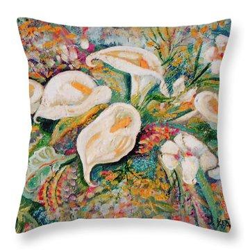 White Callas Throw Pillow by John Keaton