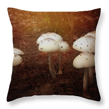 White Cap Mushrooms Throw Pillow by Carolyn Dalessandro