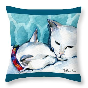 White Cat Affection Throw Pillow