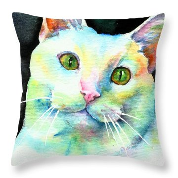 Throw Pillow featuring the painting White Cat by Christy Freeman