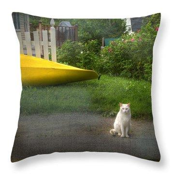 White Cat, Yellow Canoe Throw Pillow