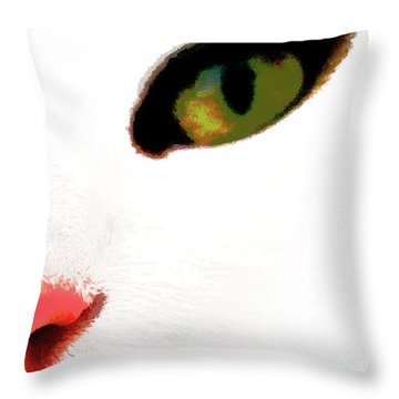 White Cats Face Throw Pillow