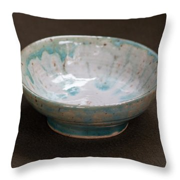 White Ceramic Bowl With Turquoise Blue Glaze Drips Throw Pillow by Suzanne Gaff