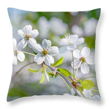 Throw Pillow featuring the photograph White Cherry Blossoms In Spring by Alexander Senin