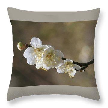 White Cherry Flower Throw Pillow