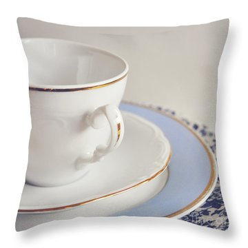 Throw Pillow featuring the photograph White China Cup, Saucer And Plates by Lyn Randle