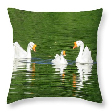 White Chinese Geese Throw Pillow