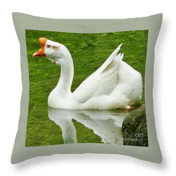 Throw Pillow featuring the photograph White Chinese Goose by Susan Garren