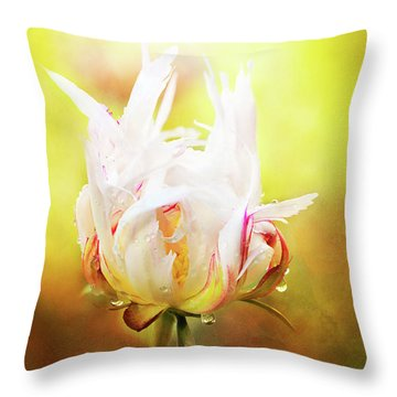 White Chinese Peony Laden With Raindrops Throw Pillow