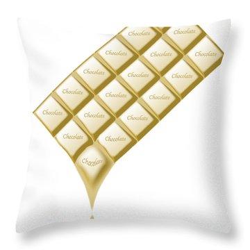 White Chocolate Bar Melting Throw Pillow