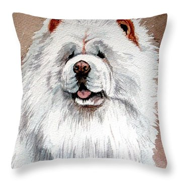 White Chow Chow Throw Pillow by Christopher Shellhammer