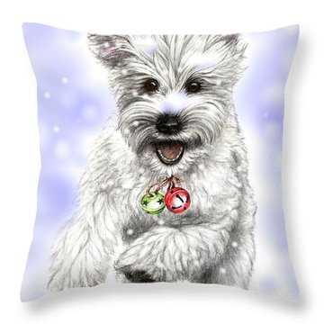 White Christmas Doggy Throw Pillow by Heidi Kriel