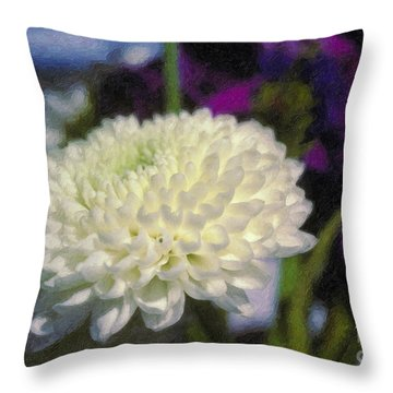 Throw Pillow featuring the photograph White Chrysanthemum Flower by David Zanzinger