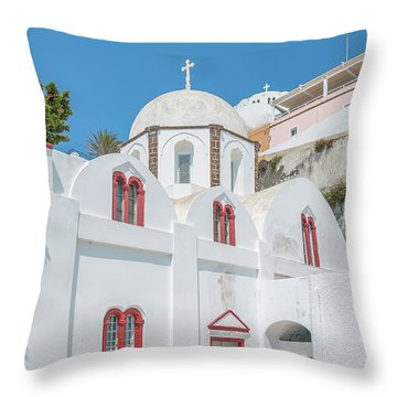 Throw Pillow featuring the photograph White Church At Fira by Antony McAulay