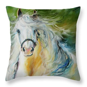 White Cloud The Andalusian Stallion Throw Pillow