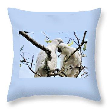 White Cockatoos Throw Pillow