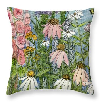 White Coneflowers In Garden Throw Pillow