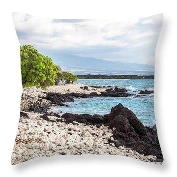 White Coral Coast Throw Pillow
