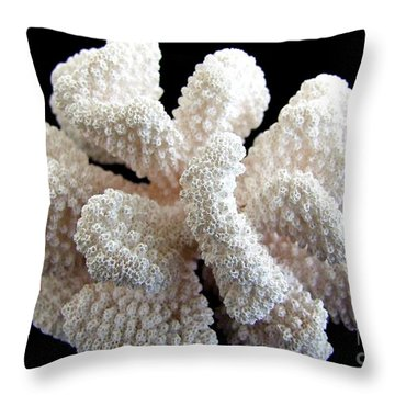 White Coral Throw Pillow by Mary Deal