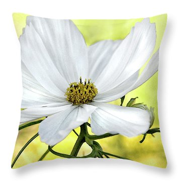 White Cosmos Floral Throw Pillow