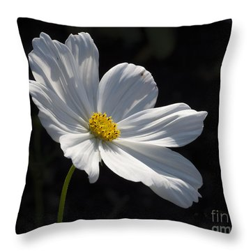 White Cosmos Throw Pillow