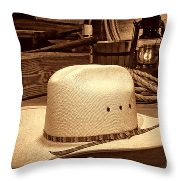 White Cowboy Hat In A Barn Throw Pillow
