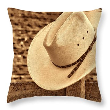 White Cowboy Hat On Fence Throw Pillow