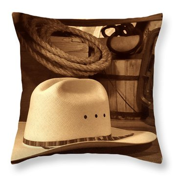 White Cowboy Hat On Workbench Throw Pillow