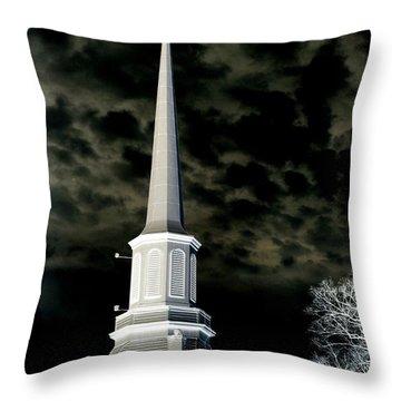 White Cross Dark Skies Throw Pillow